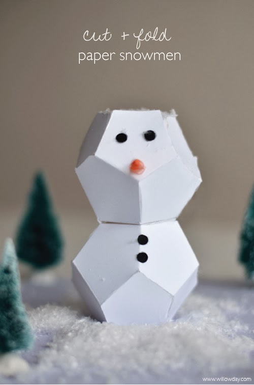 Cut fold paper snowmen willowday for How to make snowman with paper